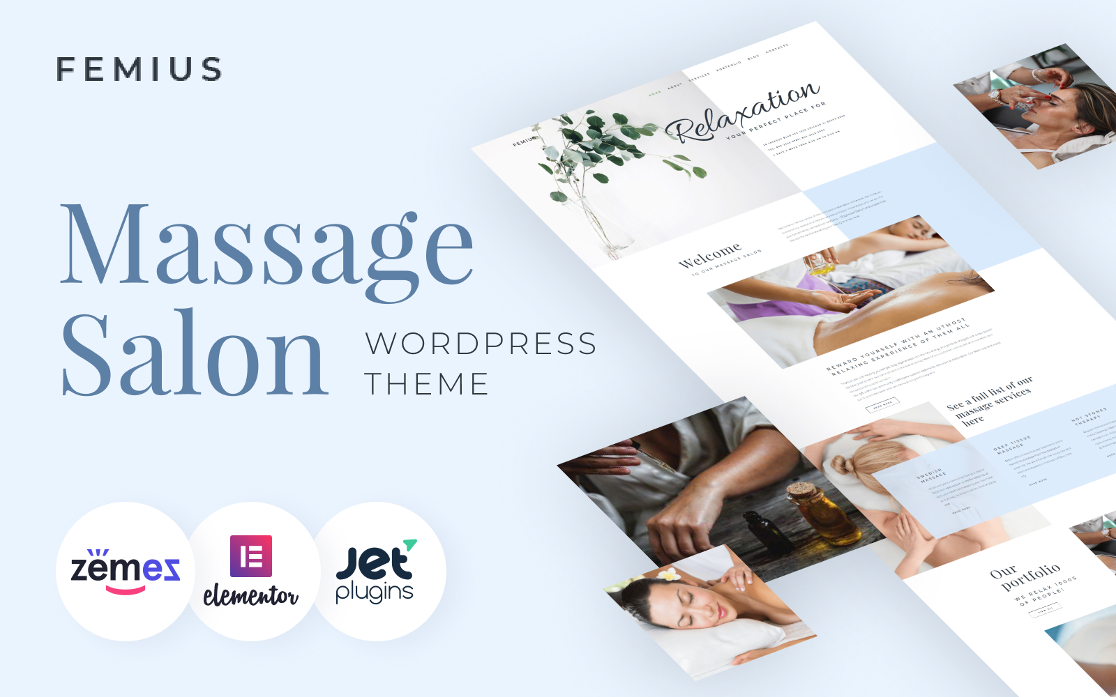 Responsywny motyw WordPress Femius - Massage Salon Ready-to-Use Minimal Elementor #82565