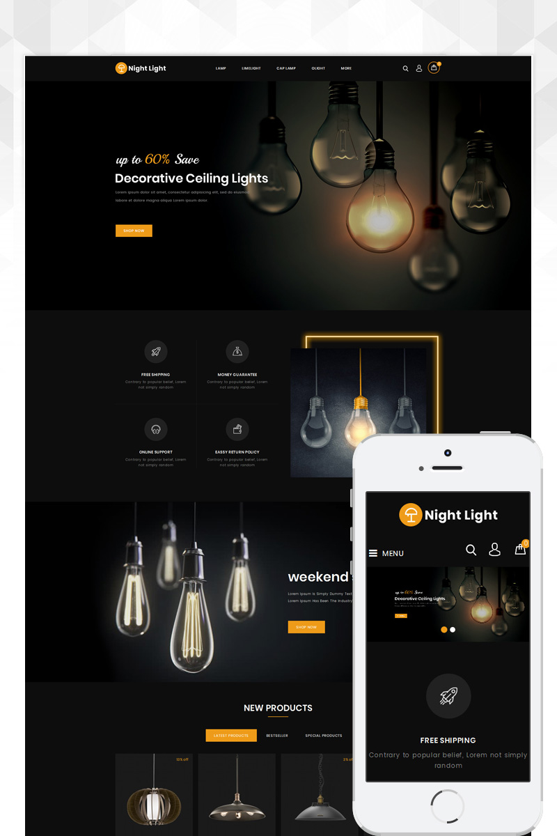 Responsywny szablon OpenCart Lighting Store #82567