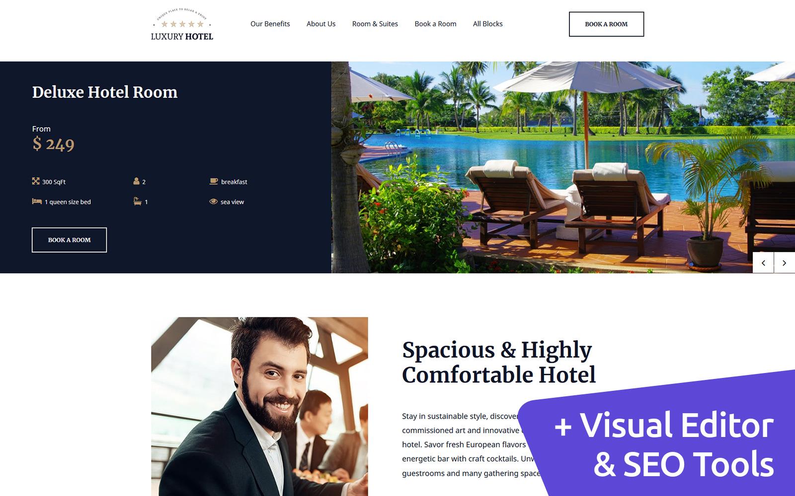 """Responzivní Šablona mikrostránek """"Luxury Hotel"""" #82558"""