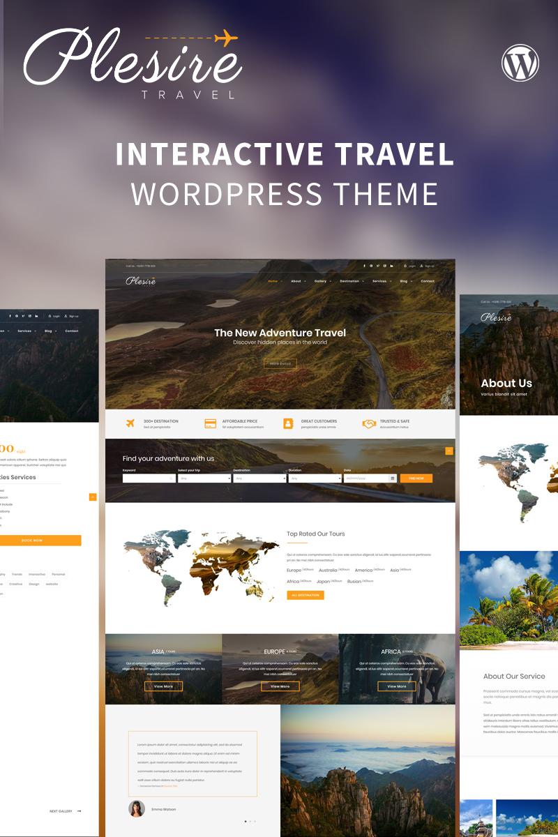 Reszponzív Plesire - Interactive Travel WordPress sablon 82552 - képernyőkép