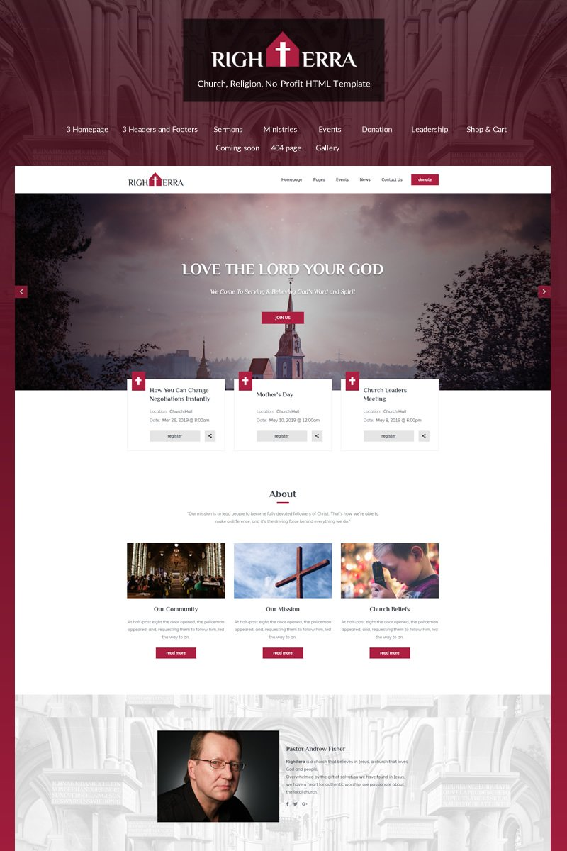 Righterra - Religion Bootstrap 4 Website Template