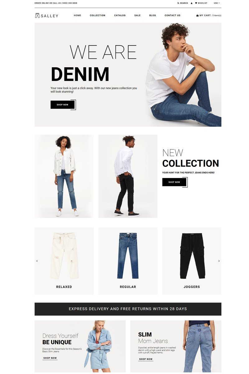 """Salley - Jeans Store Clean"" 响应式Shopify模板 #82575 - 截图"