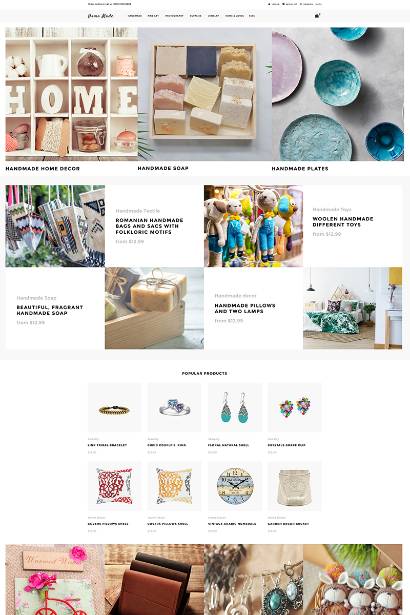 "Shopify Theme namens ""Home Made - Hobbies & Crafts Multipage Clean"" #82577"