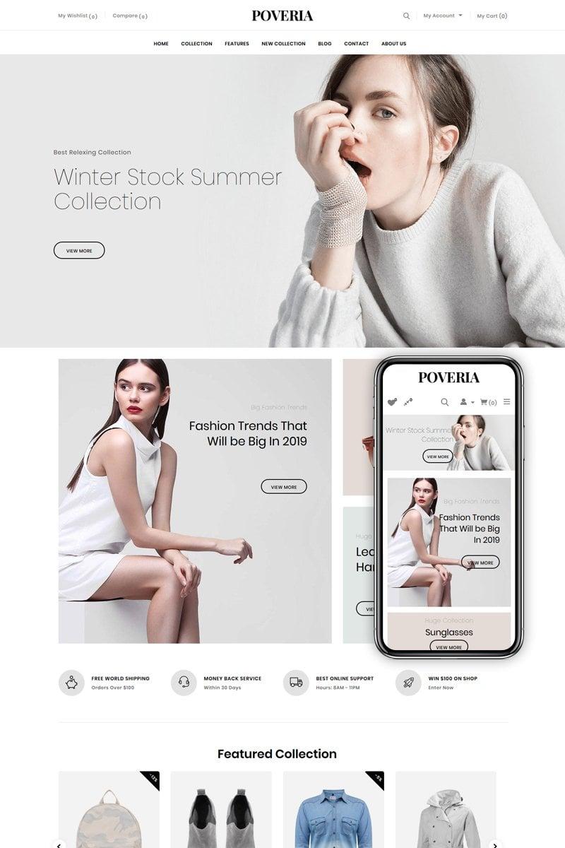 "Shopify Theme namens ""Poveria - Fashion Store"" #82543"