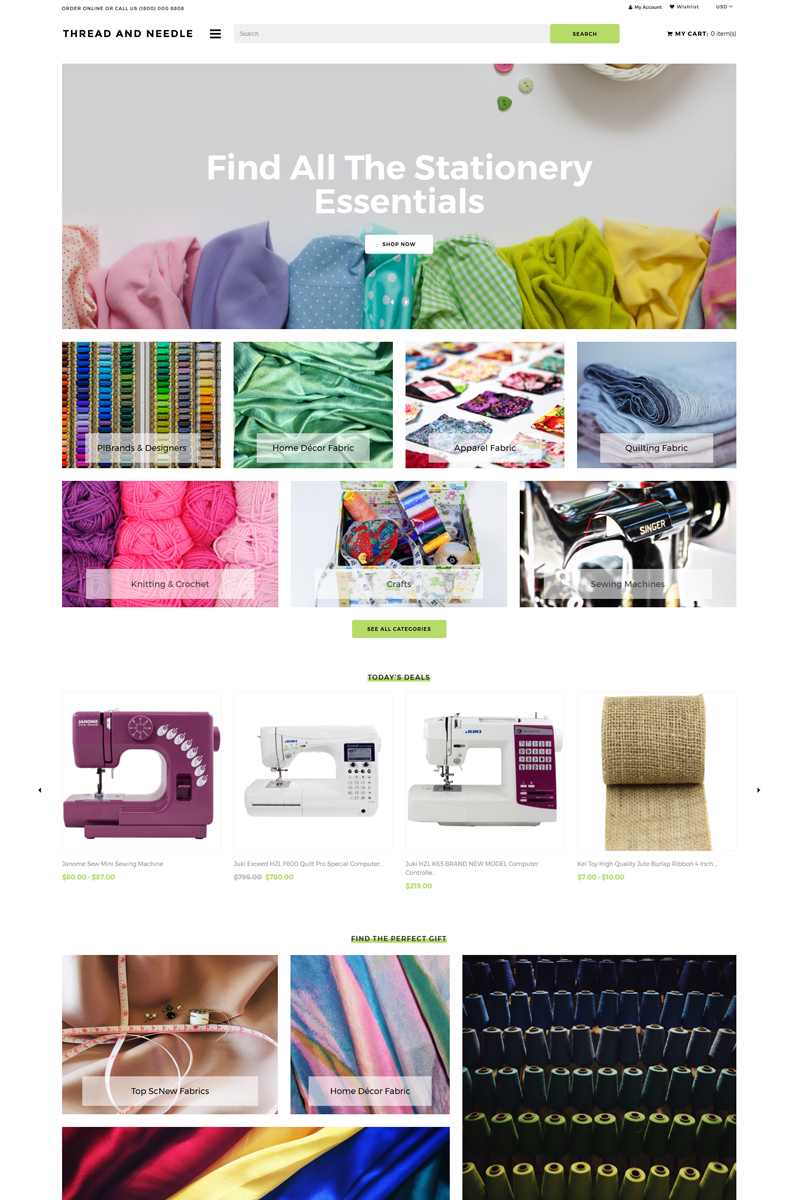 "Shopify Theme namens ""Thread And Needle - Sewing Store Modern"" #82573"