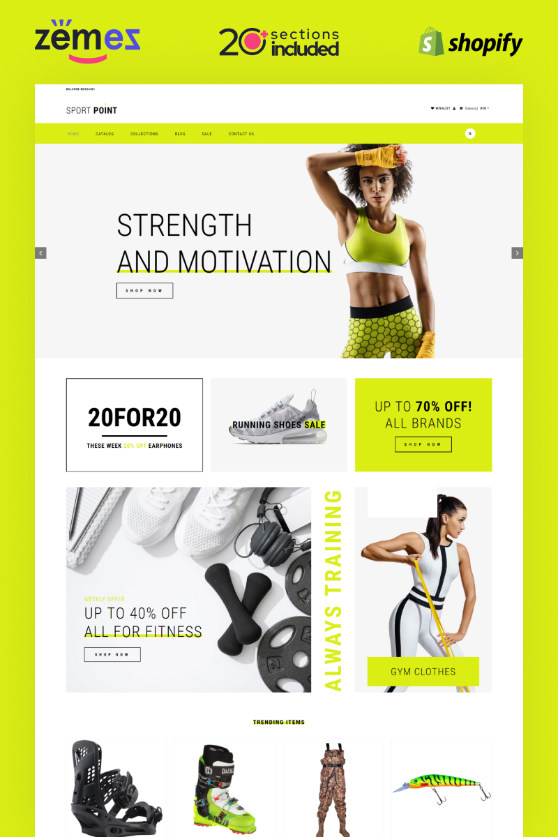 """Sport Point - Sports Store Multipage Clean"" Responsive Shopify Thema №82576"