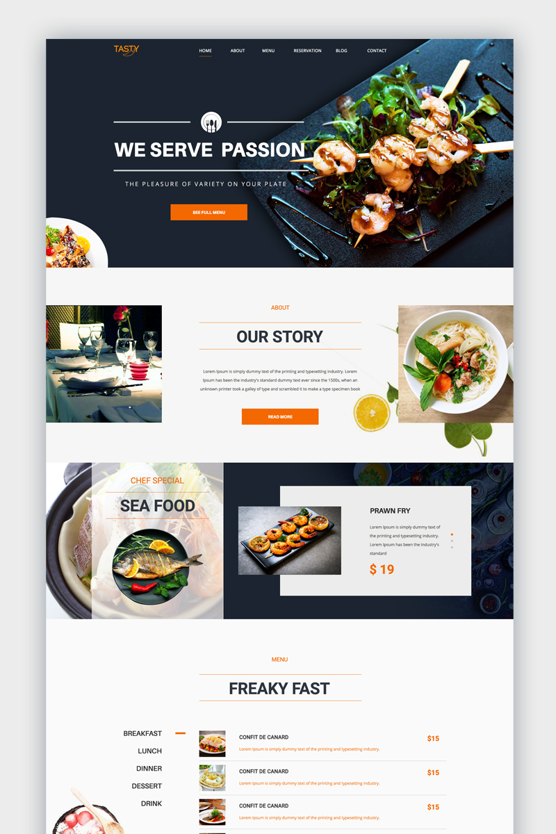 Tasty - Restaurant One Page PSD Template