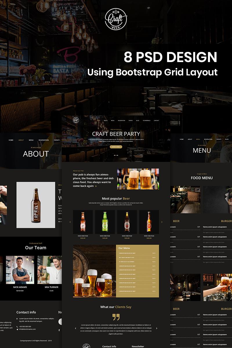 """Tema PSD #82530 """"Craft Beer - Beer Pub"""""""