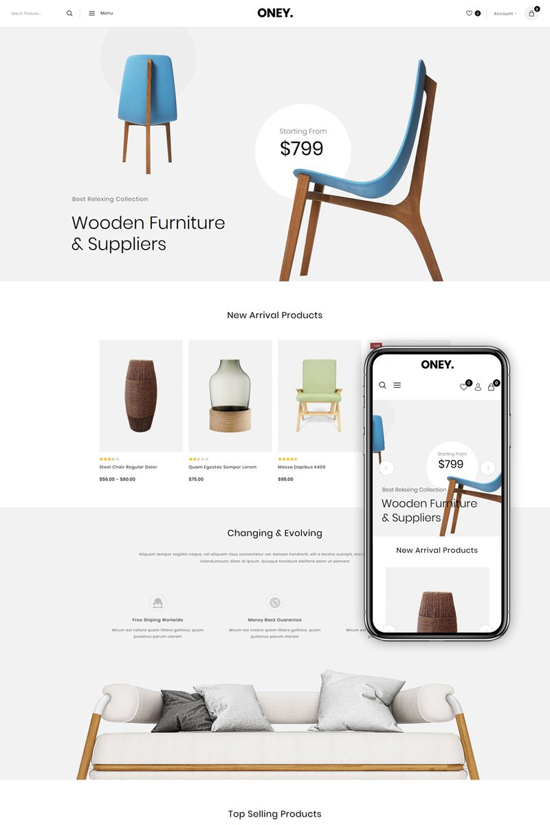"Tema WooCommerce ""Oney - Home Decor Store"" #82572"