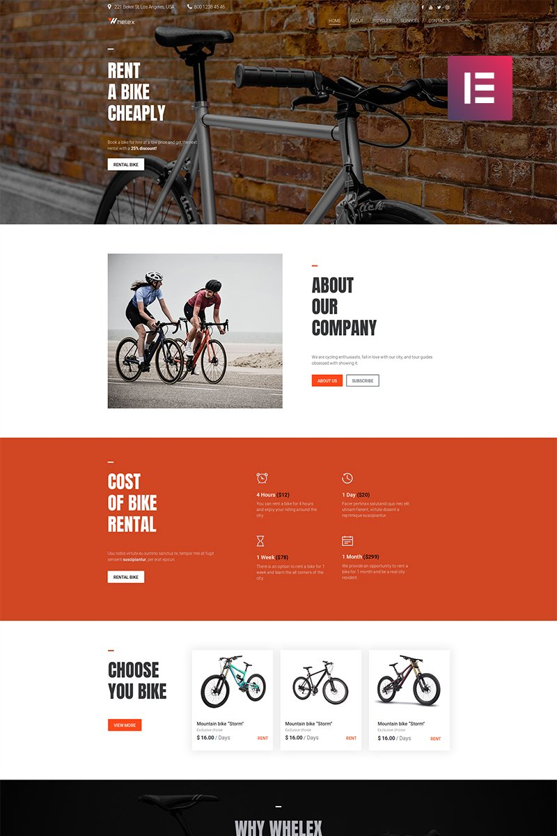 "Template WordPress Responsive #82531 ""Whelex - Bike Rent Multipurpose Modern Elementor"""