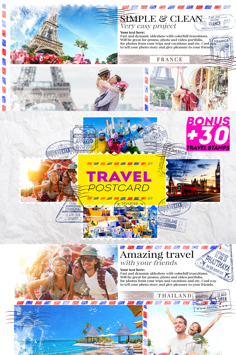 Travel Postcard After Effects com Introdução №82506