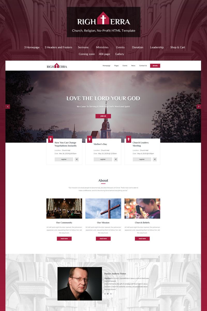 """Website Vorlage namens """"Righterra - Religion Bootstrap 4"""" #82535"""