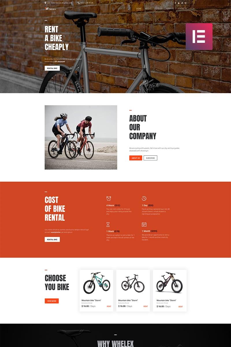 """Whelex - Bike Rent Multipurpose Modern Elementor"" Responsive WordPress thema №82531"