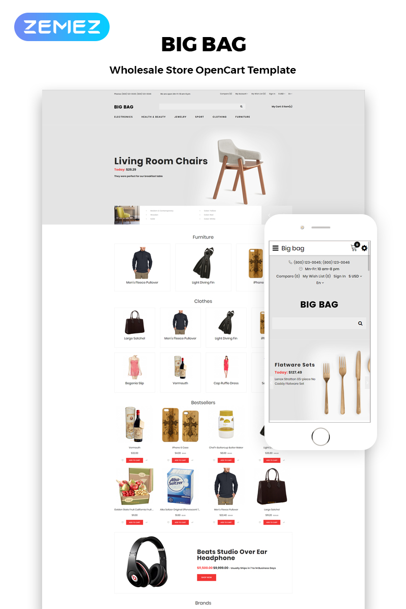 Big Bag - Wholesale Store Modern OpenCart Template
