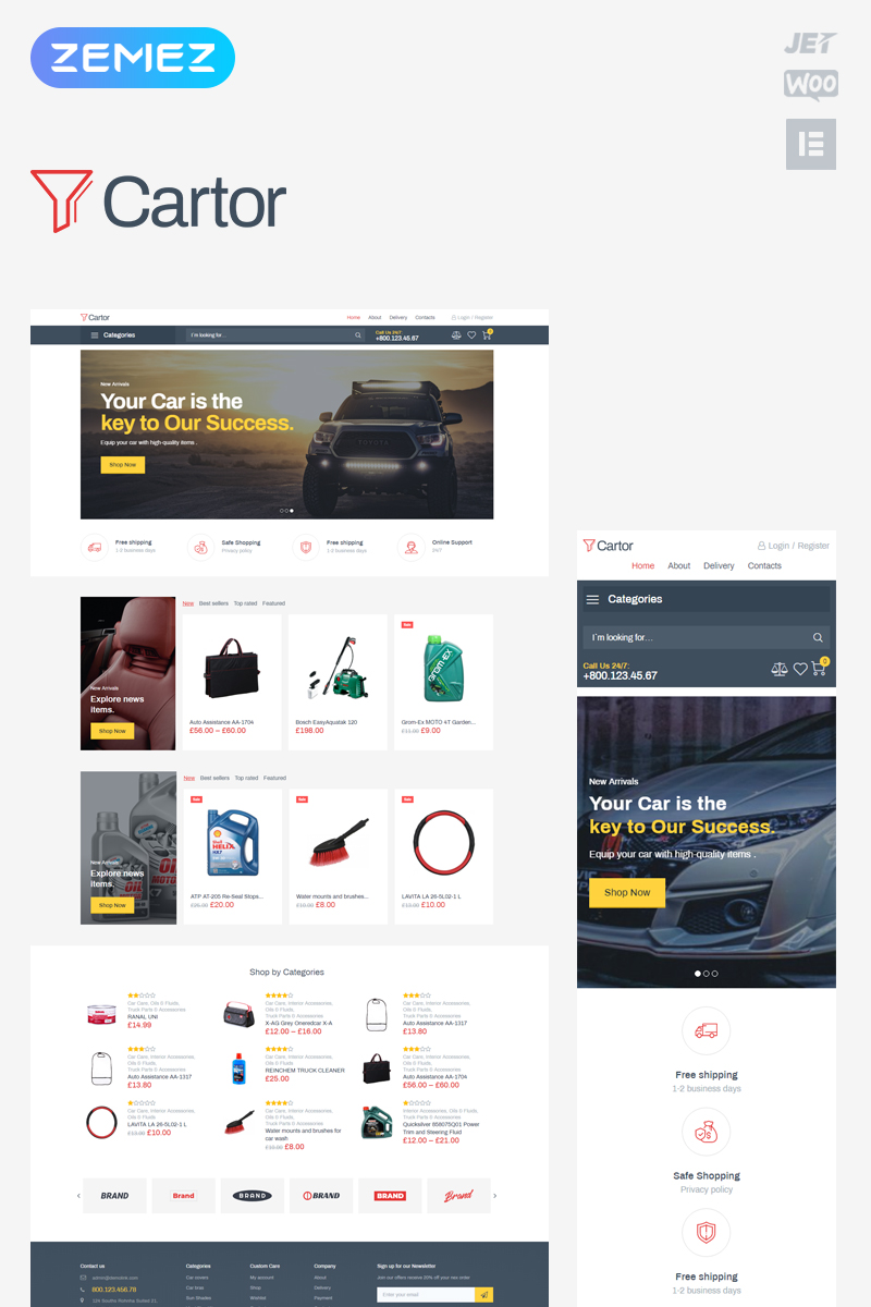 """Cartor - Auto Accessories ECommerce Classic Elementor"" - адаптивний WooCommerce шаблон №82635"