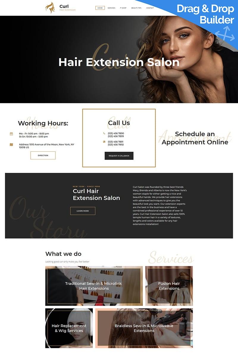 Curl - Hair Extension Moto CMS 3 Template - screenshot