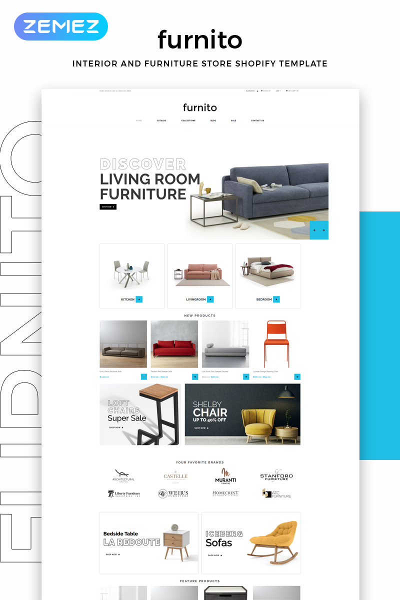 Furnito - Interior And Furniture Store Modern Shopify Theme - screenshot