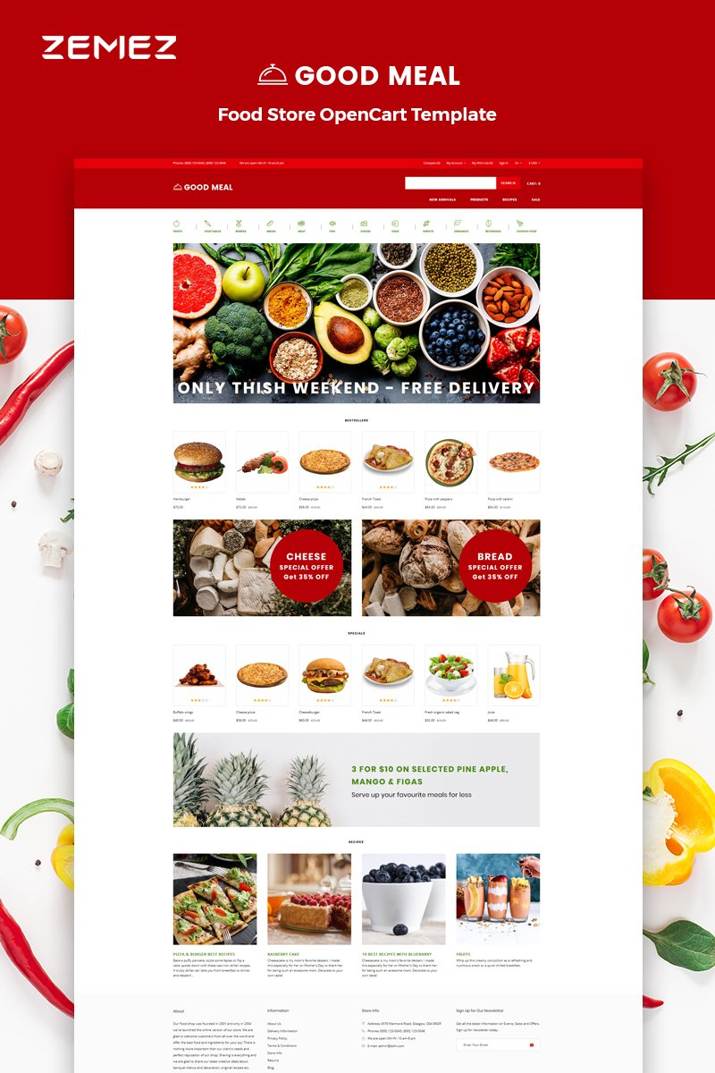 """""""Good Meal - Food Store Multipage Creative"""" Responsive OpenCart Template №82666"""