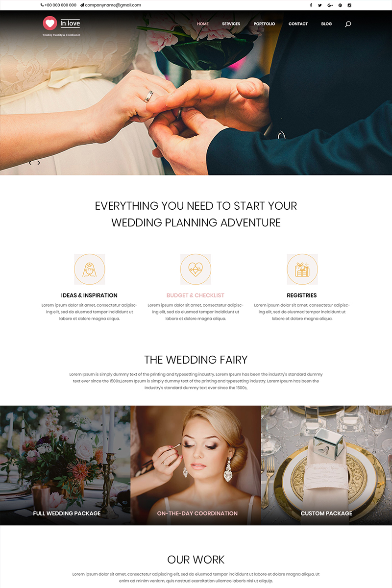"""In Love - Wedding Planner"" PSD Template №82603"
