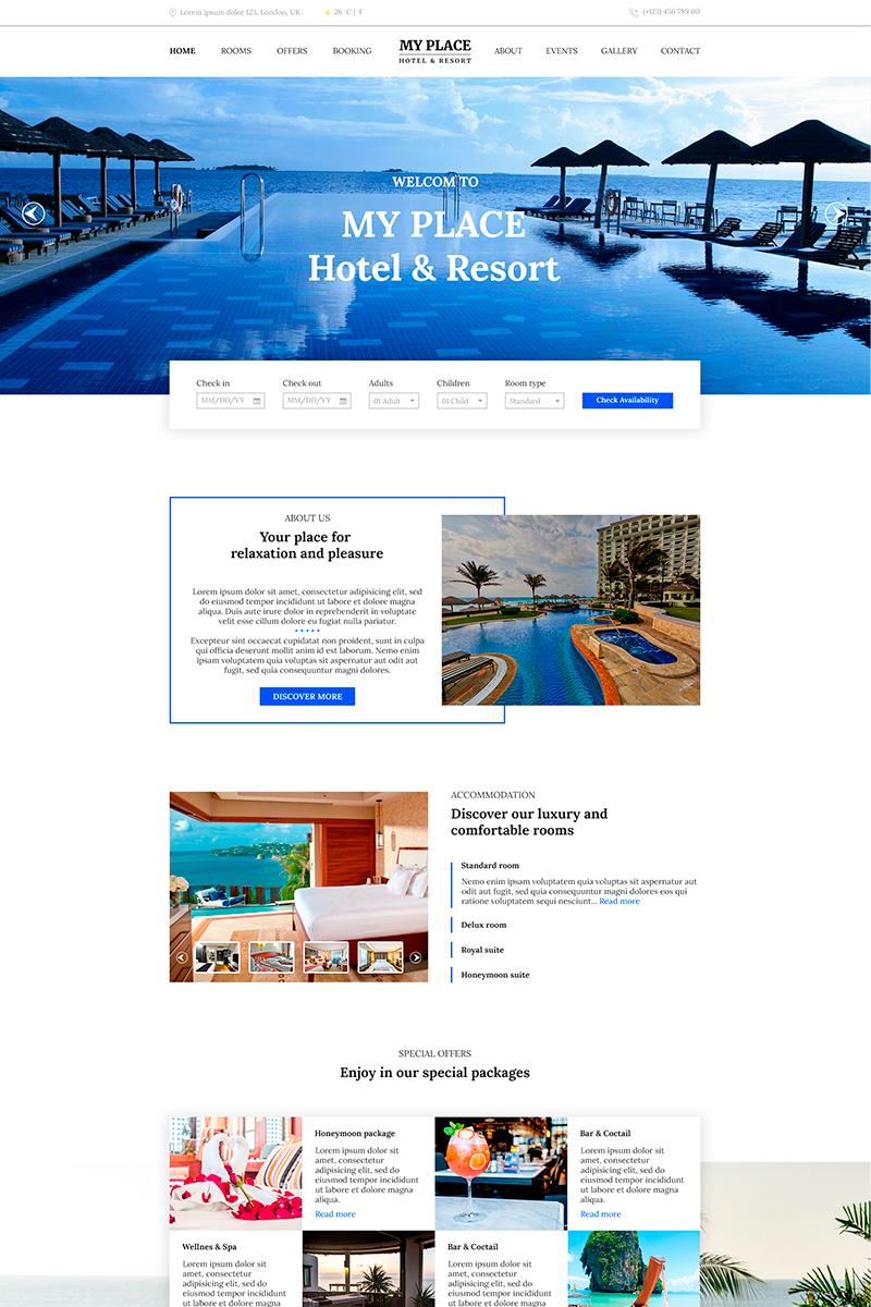 """""""My Place   Hotel & Resort"""" PSD Template №82624"""