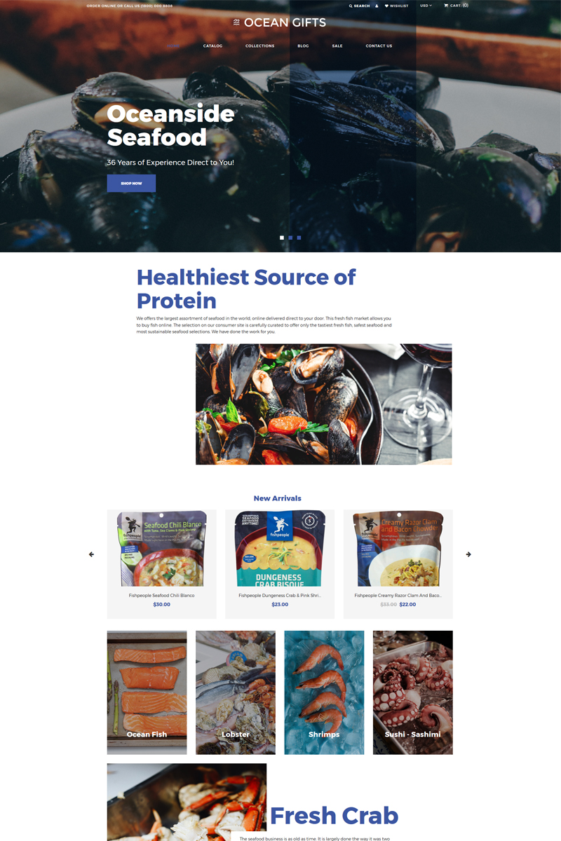 """Ocean Gifts - Sea Food Shop Modern"" thème Shopify adaptatif #82649 - screenshot"