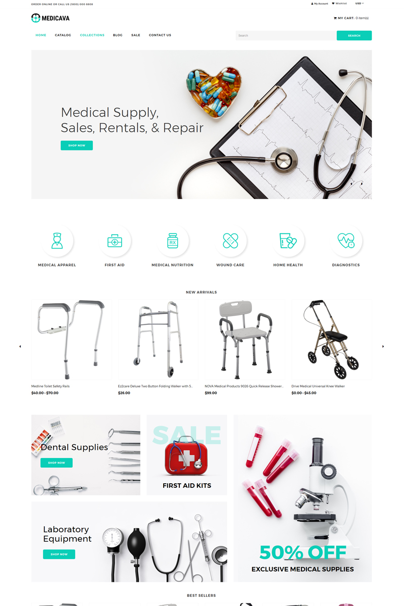 Responsivt Medicava - Medical Equipment Multipage Clean Shopify-tema #82698