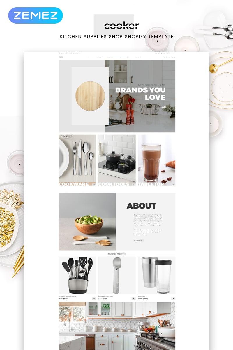 Responsywny szablon Shopify Cooker - Kitchen Supplies Shop Modern #82694