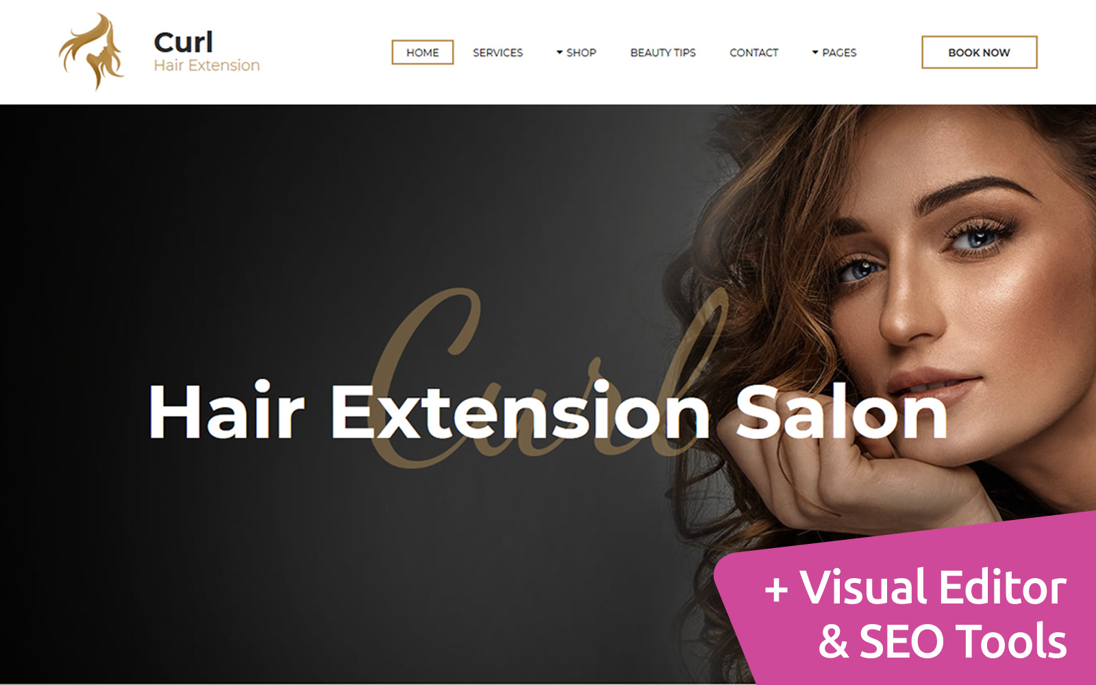 "Responzivní Moto CMS 3 šablona ""Curl - Hair Extension"" #82651"