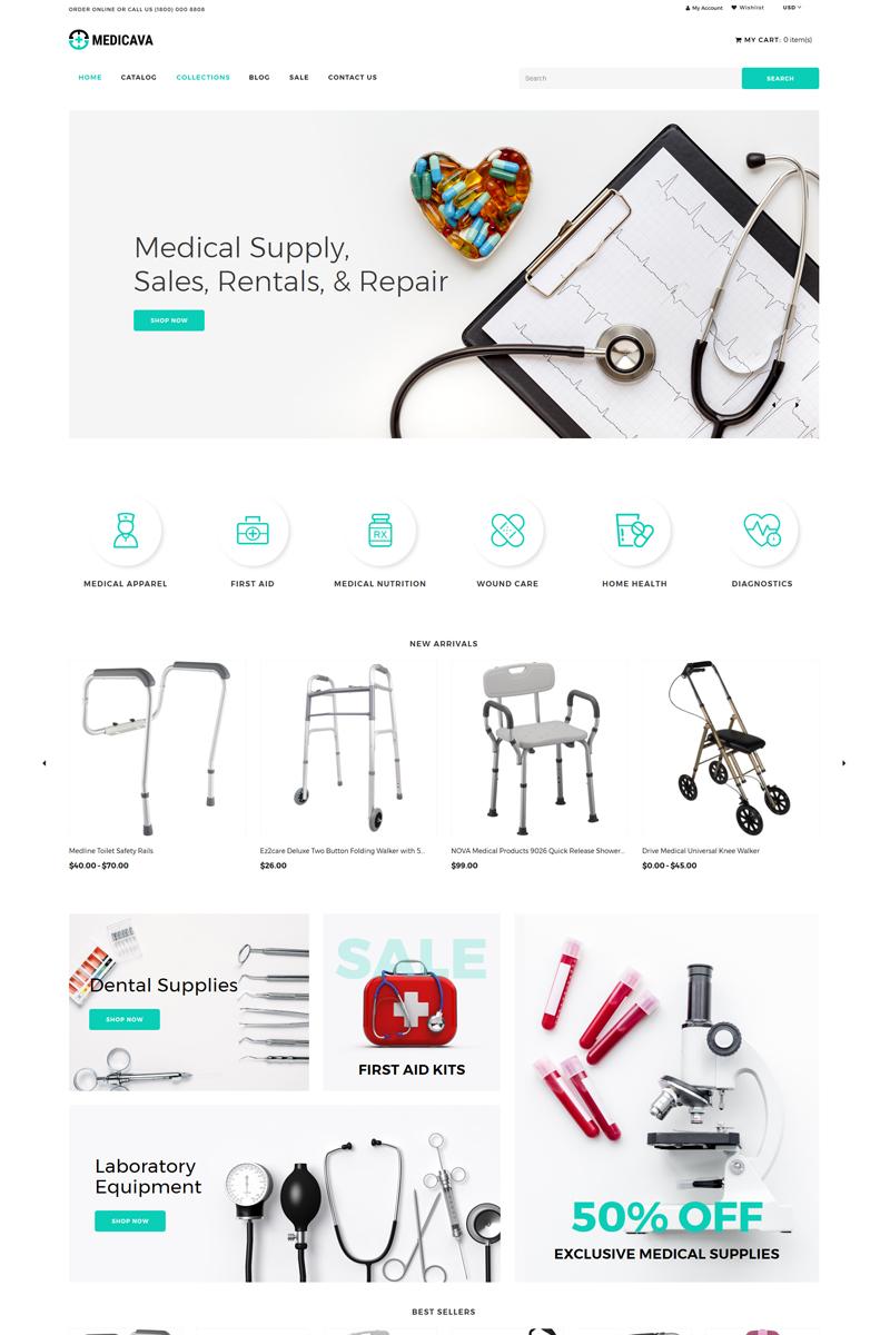 """Responzivní Shopify motiv """"Medicava - Medical Equipment Multipage Clean"""" #82698"""