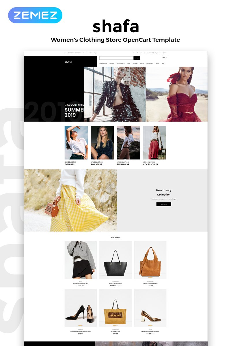 """Shafa - Fashion Store Multipage Modern"" Responsive OpenCart Template №82641"