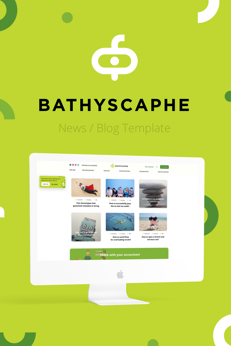 "Sketch-Vorlage namens ""Bathyscaphe — Publishing/News/Blog"" #82663 - Screenshot"