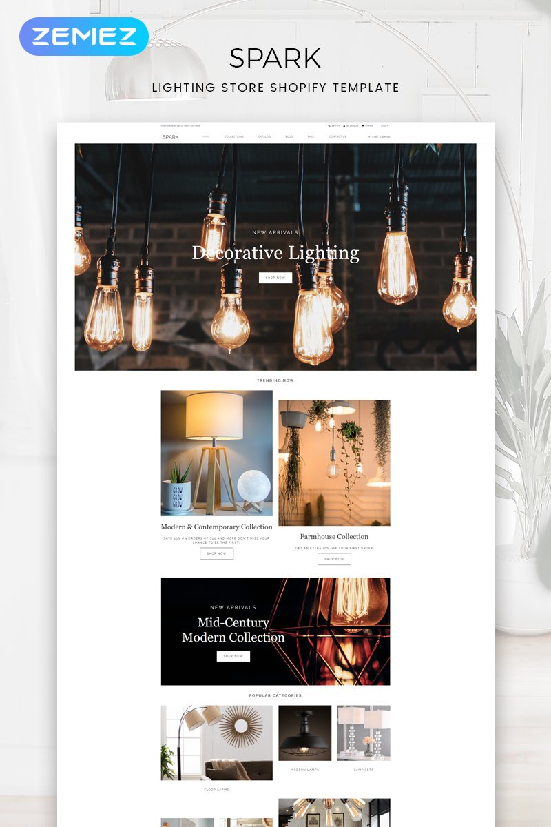 """Spark - Lighting Store Modern"" - адаптивний Shopify шаблон №82644"