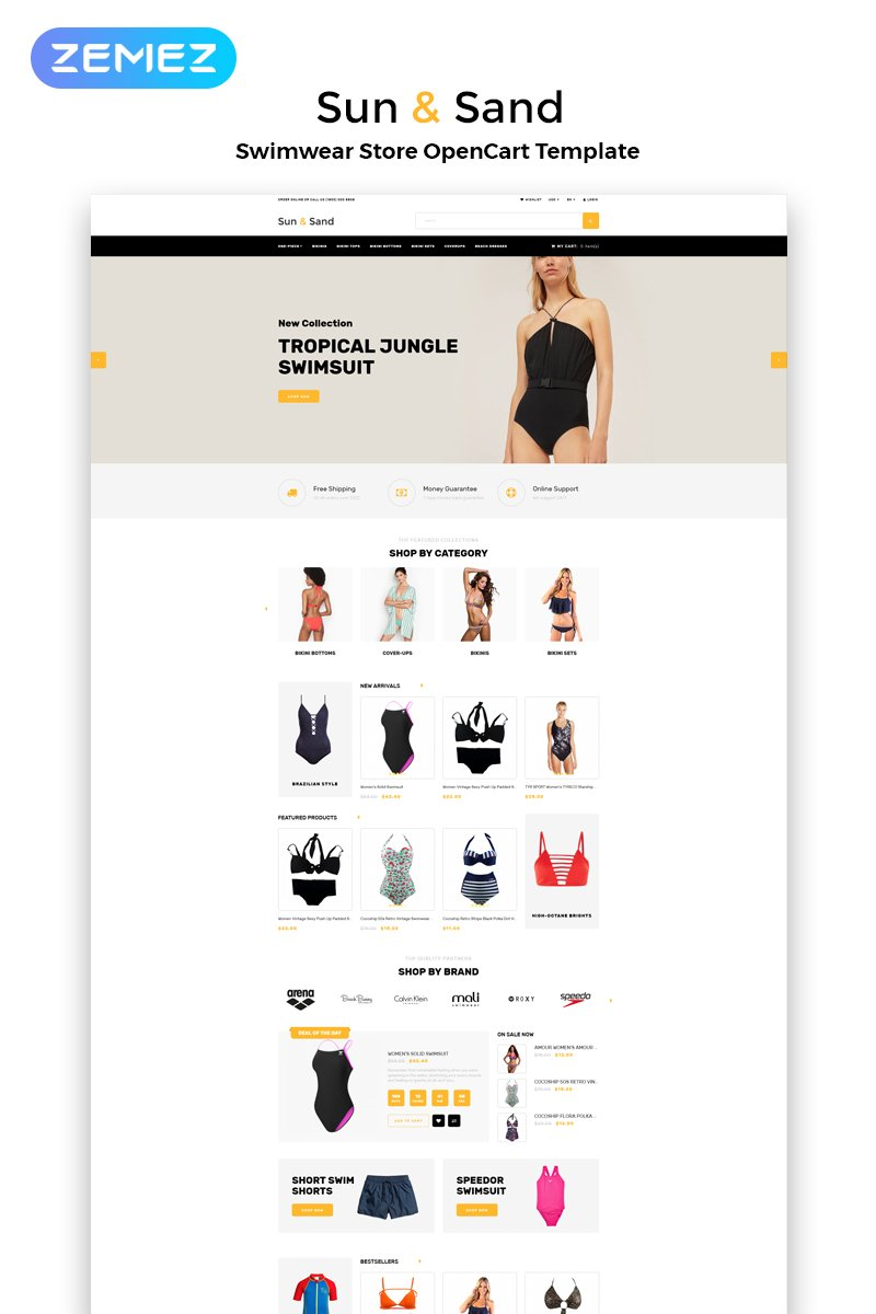 """Sun & Sand - Swimwear eCommerce Clean"" Responsive OpenCart Template №82665"