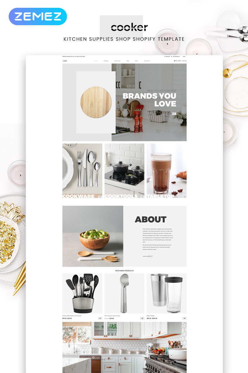 "Tema Shopify ""Cooker - Kitchen Supplies Shop Modern"" #82694"