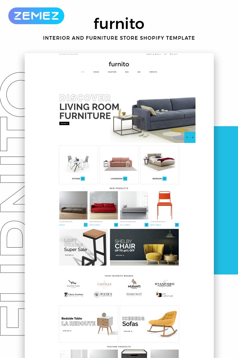 """Tema Shopify """"Furnito - Interior And Furniture Store Modern"""" #82693"""
