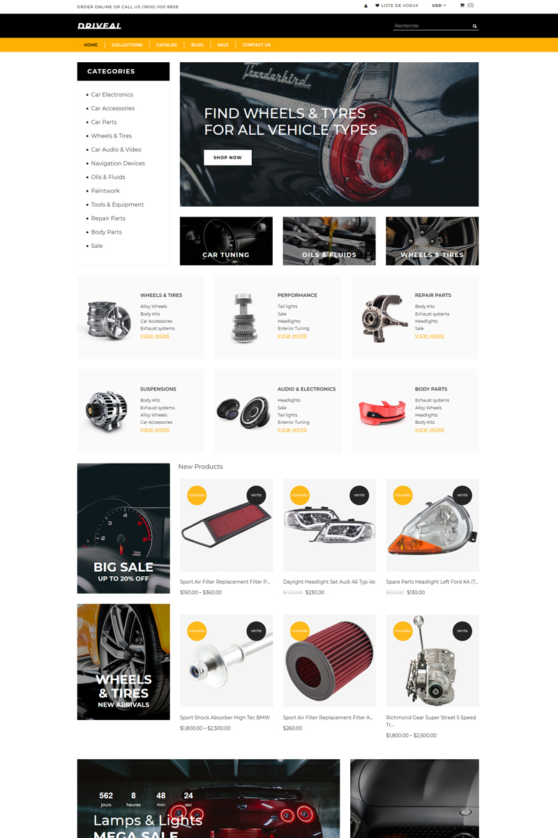 "Template Shopify Responsive #82639 ""Driveal - Auto Parts Shop Clean"""