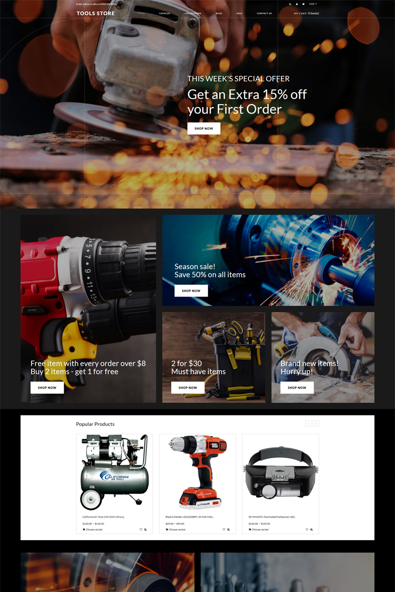 """Tools Store - Tools & Equipment Creative"" - адаптивний Shopify шаблон №82643"