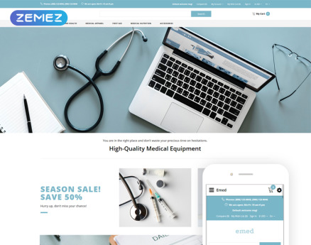 Emed - Medical Equipment Multipage Clean OpenCart Template