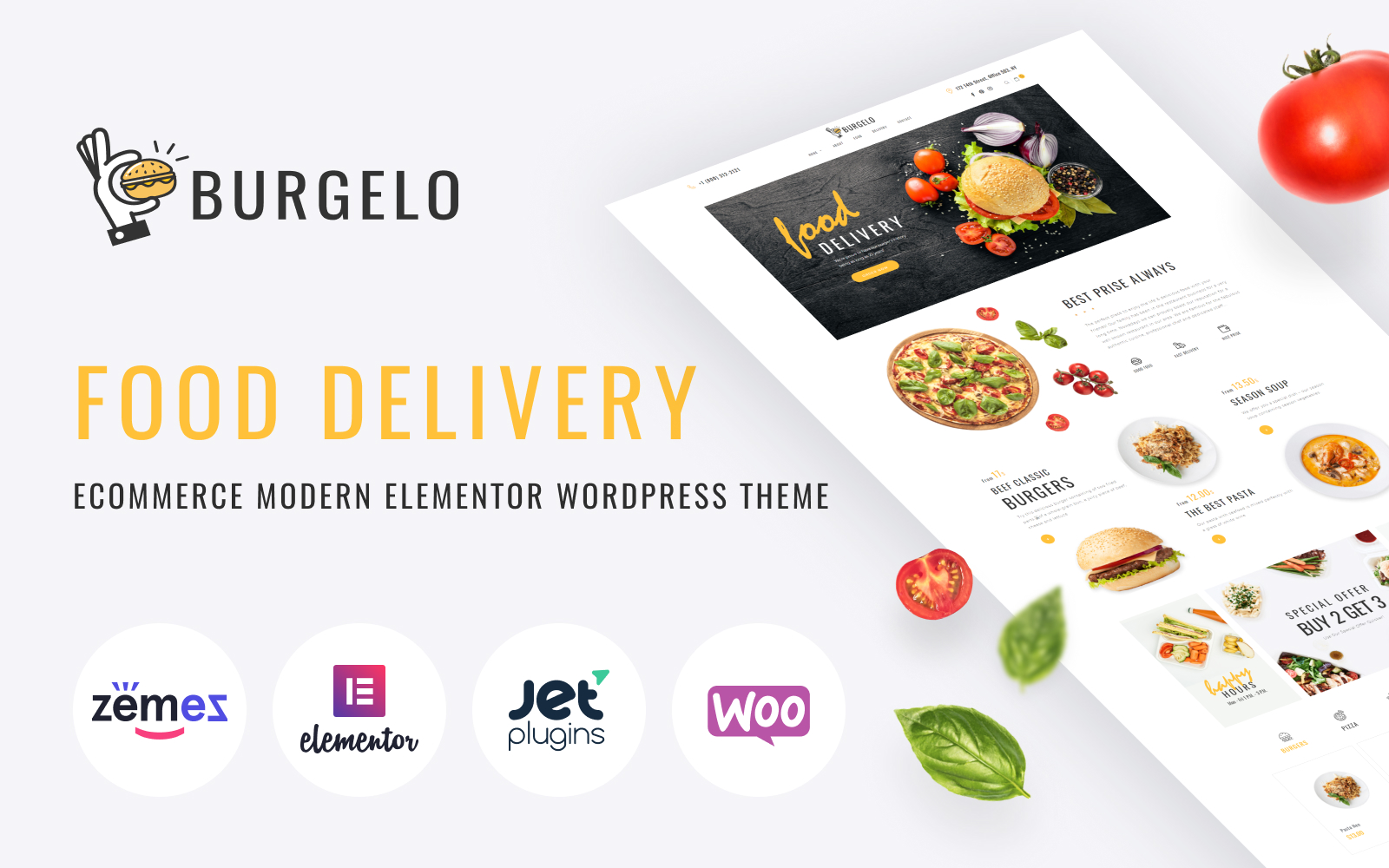"""Burgelo - Food Delivery ECommerce Modern Elementor"" - адаптивний WooCommerce шаблон №82722"
