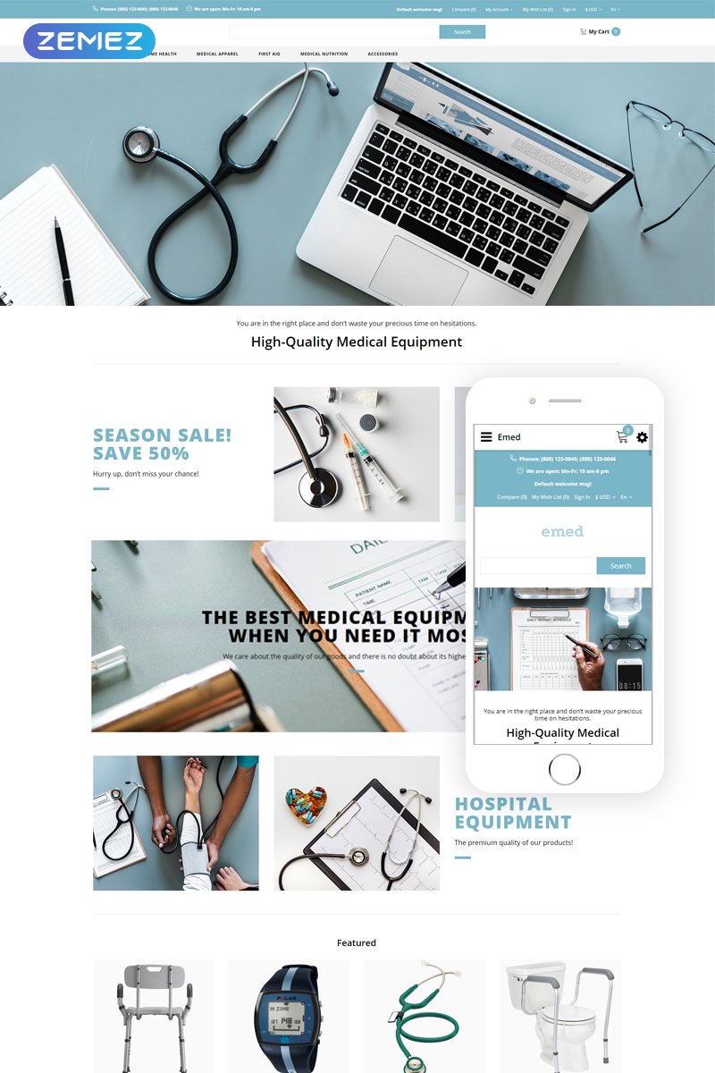 Emed - Medical Equipment Multipage Clean Template OpenCart №82750 - captura de tela