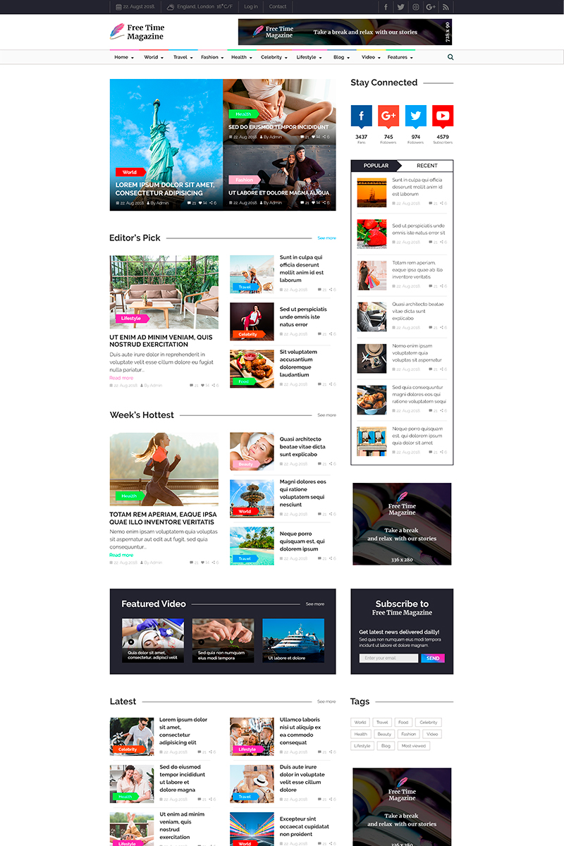 """Free Time Magazine | News & Magazine"" - PSD шаблон №82700"