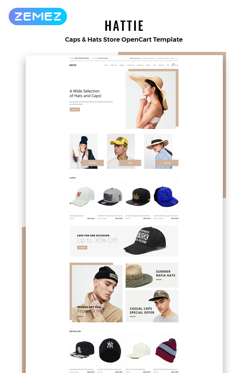 """Hattie - Fashion Multipage Clean"" Responsive OpenCart Template №82749"