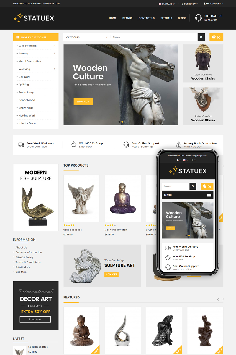 """OpenCart Vorlage namens """"Statuex - Art Gallery Shop"""" #82745"""