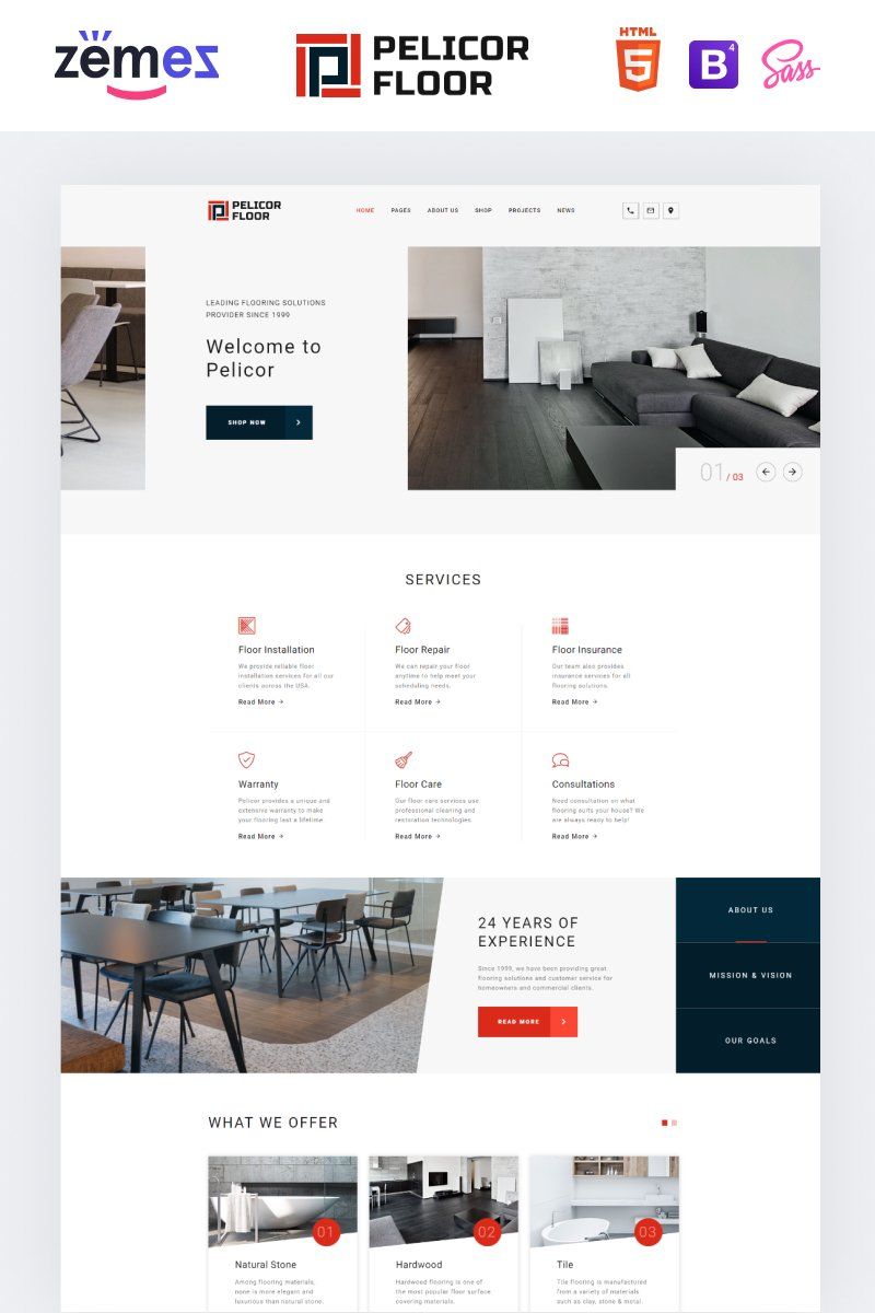 """Pelicor Floor - Flooring Services Multipage HTML5"" Responsive Website template №82723"
