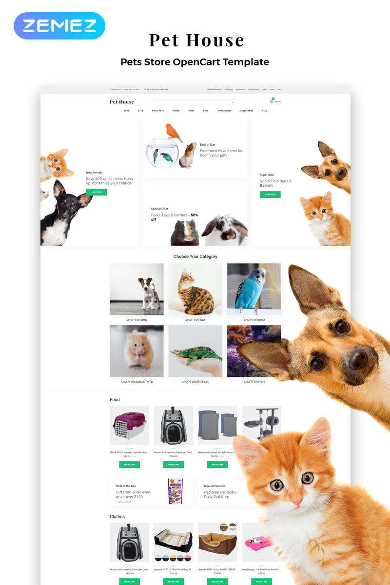 """Pet House - Pet Shop eCommerce Modern"" thème OpenCart adaptatif #82748"