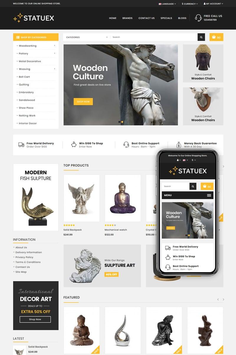 "Plantilla OpenCart ""Statuex - Art Gallery Shop"" #82745"