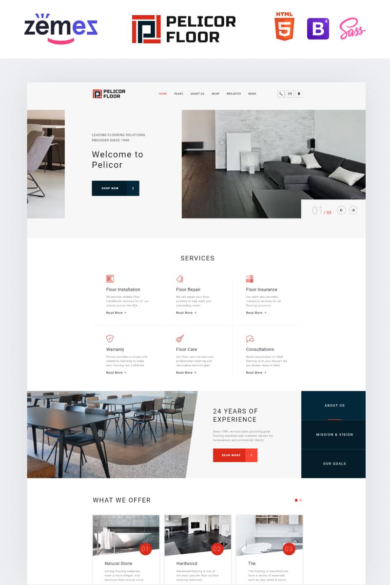 """Plantilla Web """"Pelicor Floor - Flooring Services Multipage HTML5"""" #82723"""
