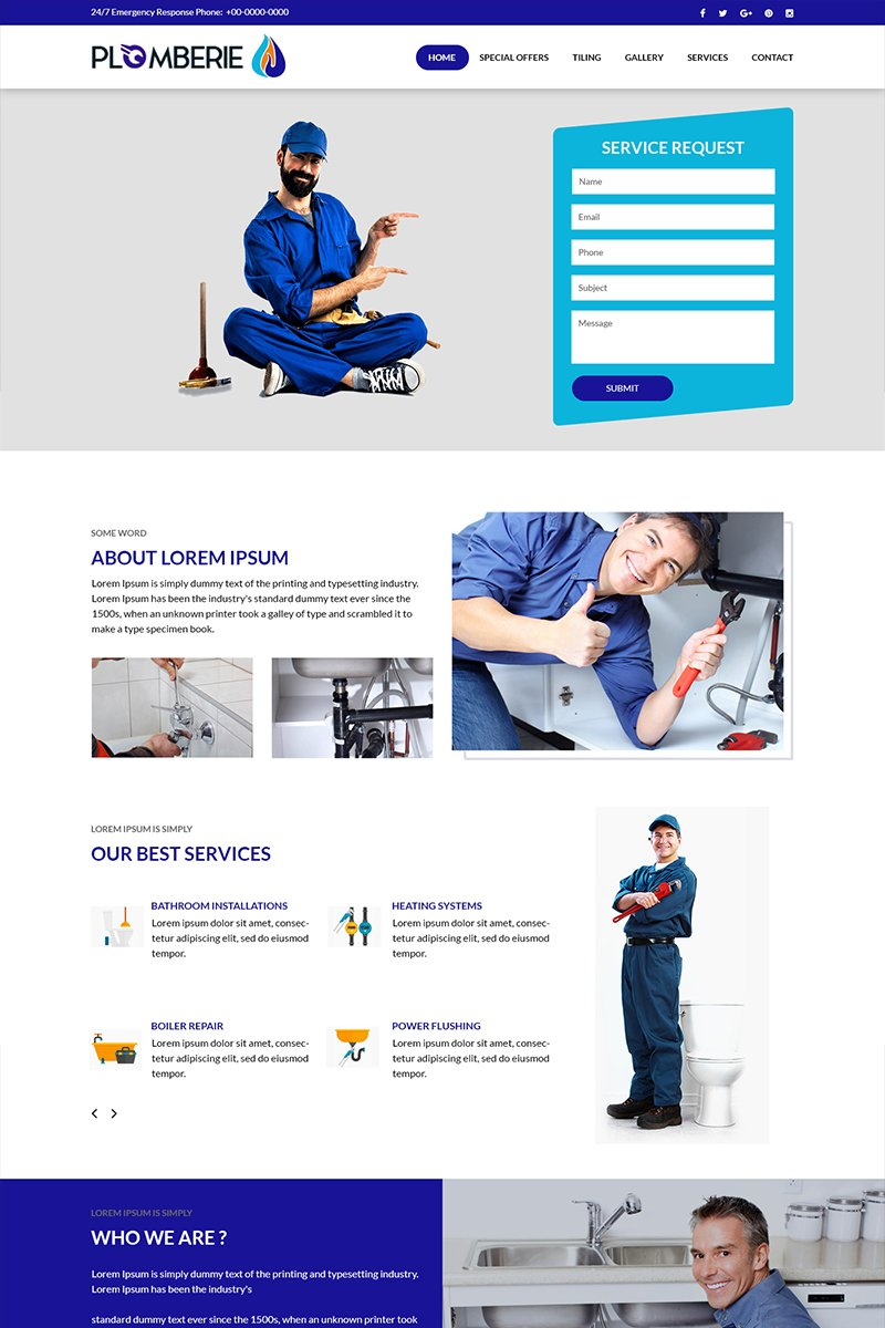 """Plomberie - Plumbing Services"" PSD Template №82724"