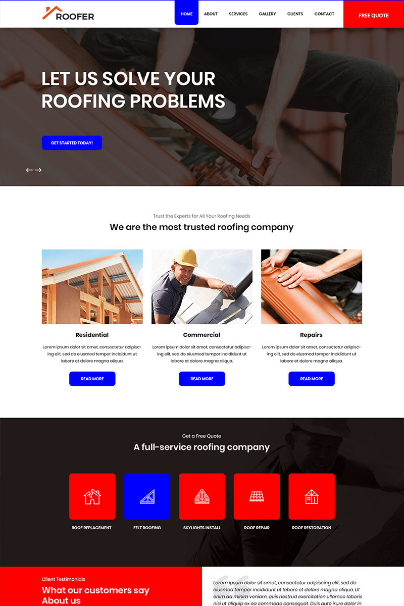 "PSD Vorlage namens ""Roofer - Roofing Services"" #82703"
