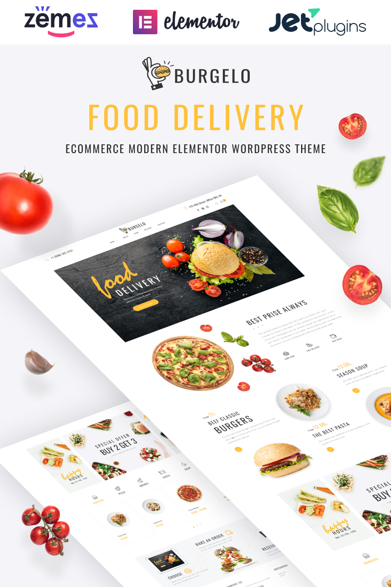 Responsivt Burgelo - Food Delivery ECommerce Modern Elementor WooCommerce-tema #82722